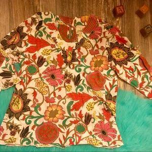 {peek}boho retro floral paisley print blouse l (8)